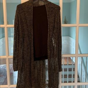 Eileen fisher airy cardigan with silver metallic